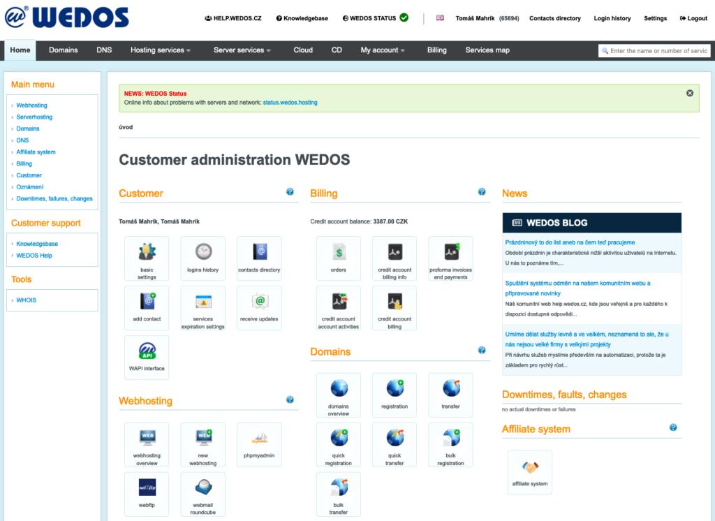 WEDOS áttekintés: ügyfél-adminisztráció