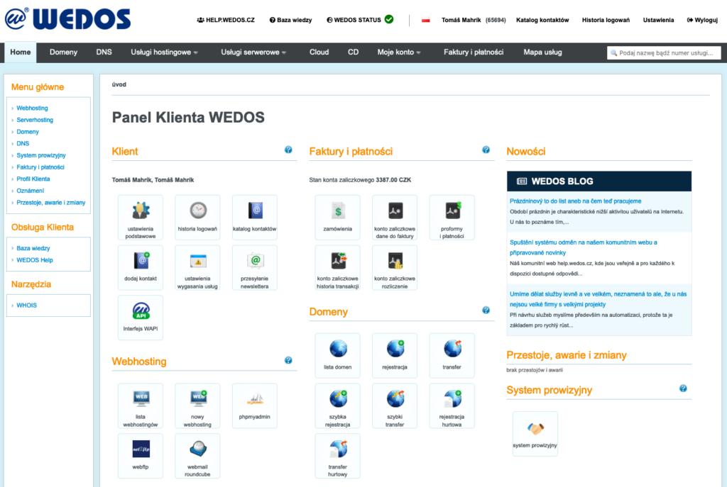 Recenzja WEDOS: administracja klienta