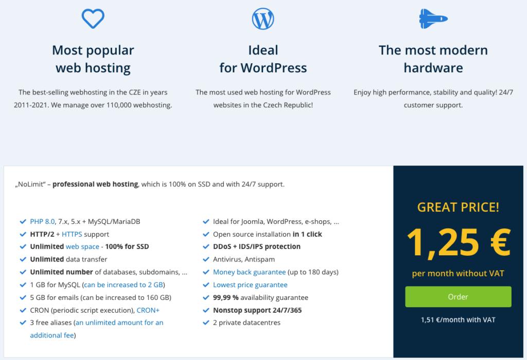 WEDOS áttekintés: web hosting NoLimit