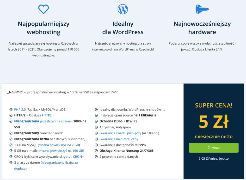 Recenzja WEDOS: hosting NoLimit