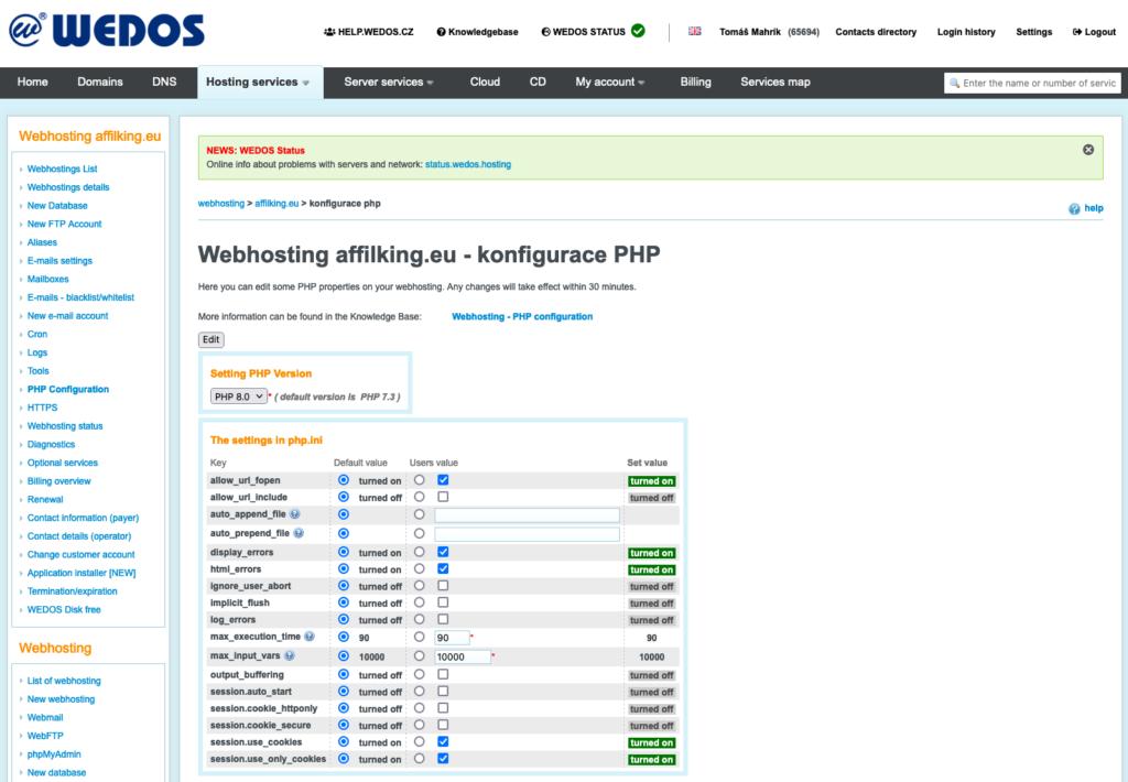 WEDOS áttekintés: web hosting PHP konfiguráció