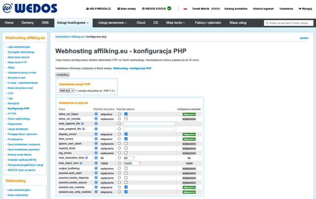Recenzja WEDOS: konfiguracja hostingu w PHP