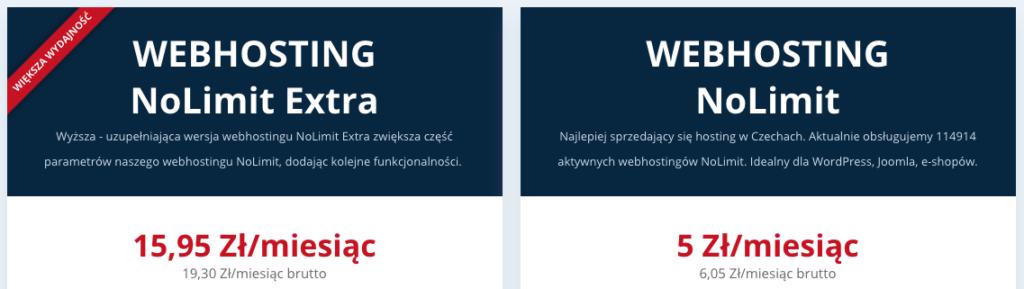 Recenzja WEDOS: ceny planów hostingowych
