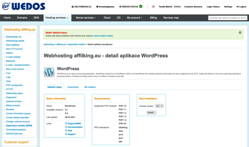 WEDOS áttekintés: Web hosting WordPress Telepítő