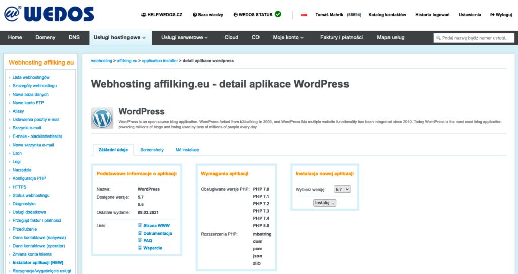 Recenzja WEDOS: hosting WordPress Instalator