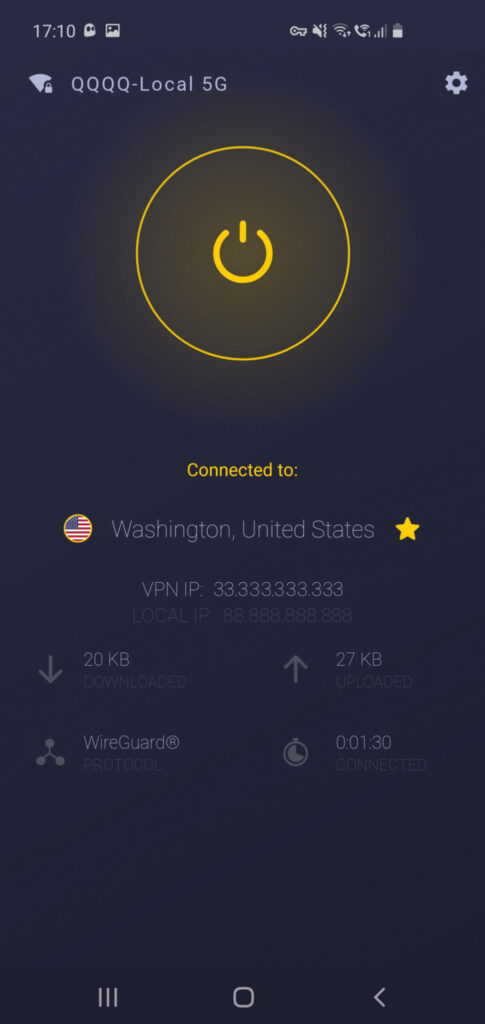 CyberGhost VPN review - Android application - connection parameters