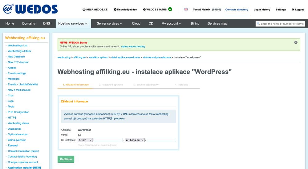 WEDOS áttekintés: Webtárhely WordPress Installer konfiguráció