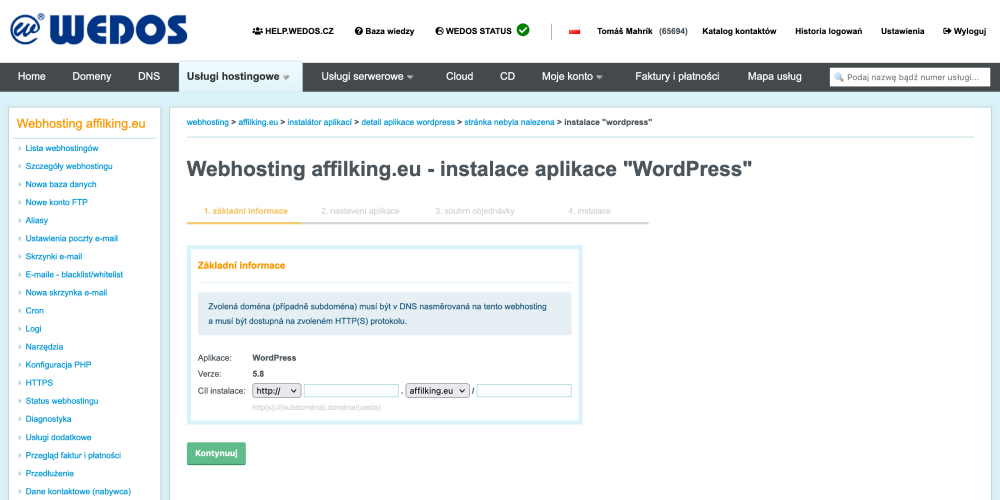 Recenzja WEDOS: konfiguracja hostingu WordPress Instalator