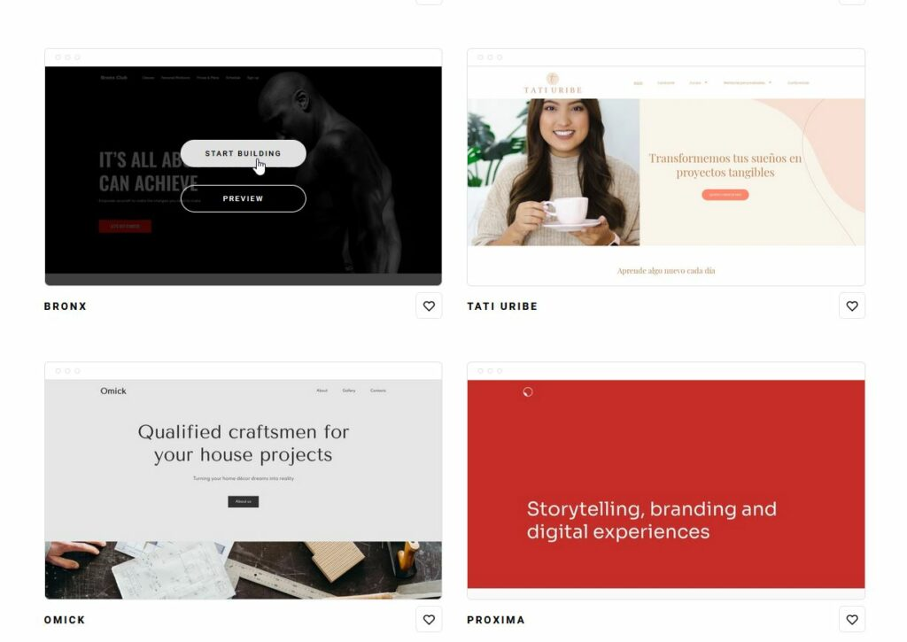 Zyro page builder: Template selection.