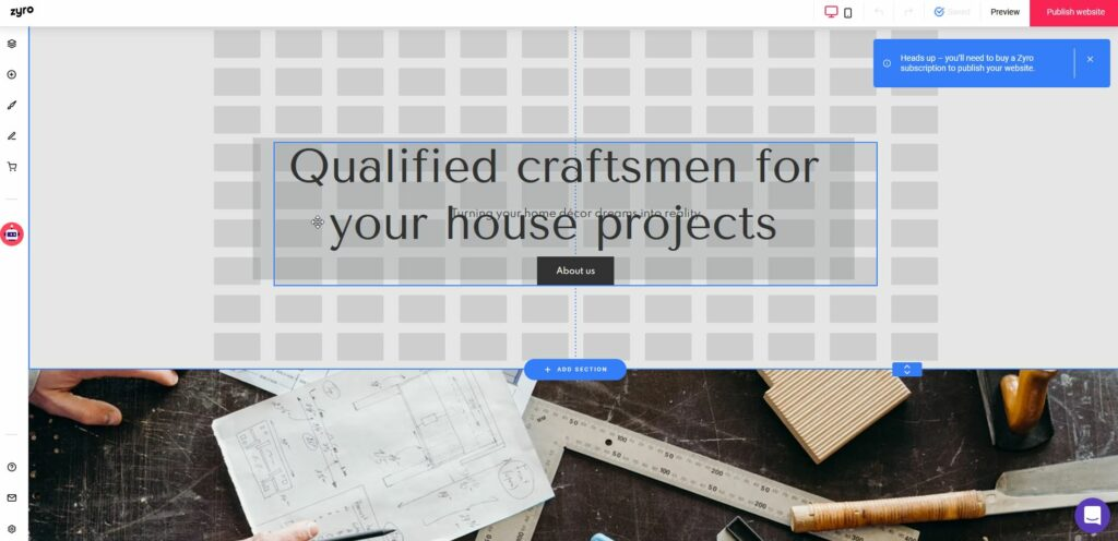 Zyro page builder review: Guide grid when moving elements using the drag & drop method.
