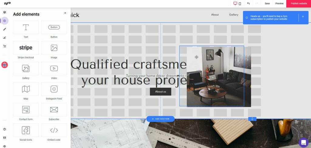 Zyro page builder review: Add a new image to the page. To exactly where I need it.