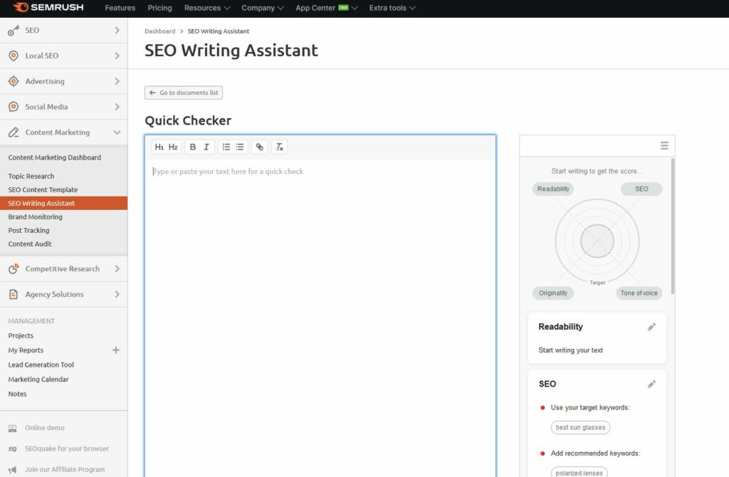 Semrush SEO Writing Assistant review: SWA content editor