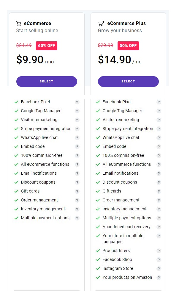 Zyro page builder review: Comparison of eCommerce and eCommerce Plus tariffs.