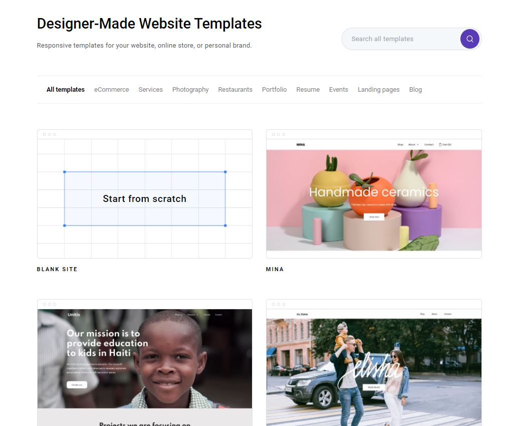 Zyro page builder review: Sample templates.