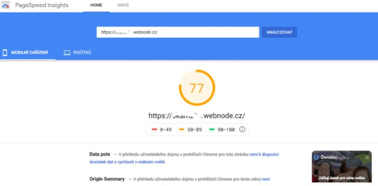 Sebességteszt a Google Page Insights-ban.