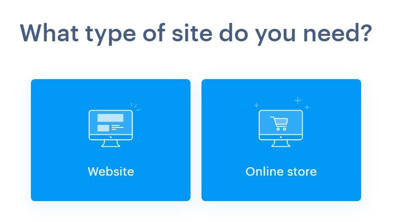 Weboldal típusának kiválasztása.
