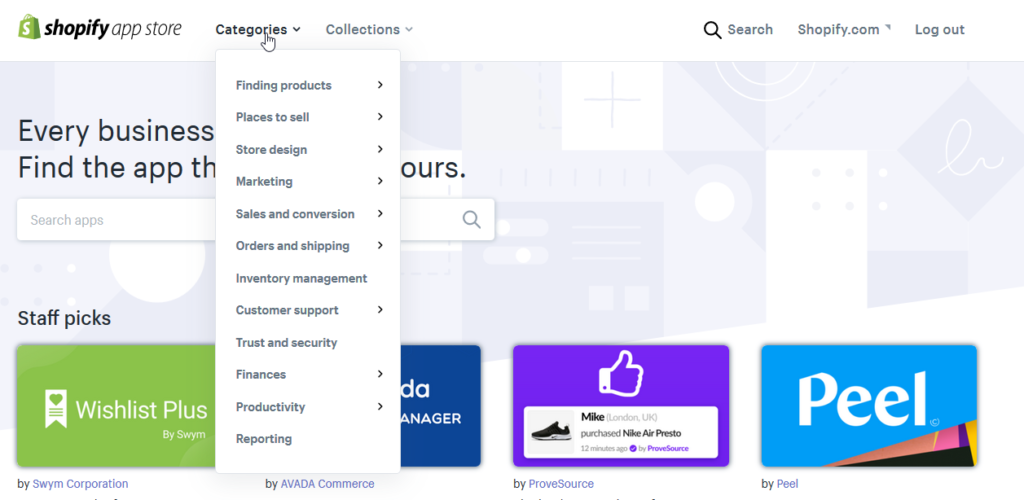 shopify app store