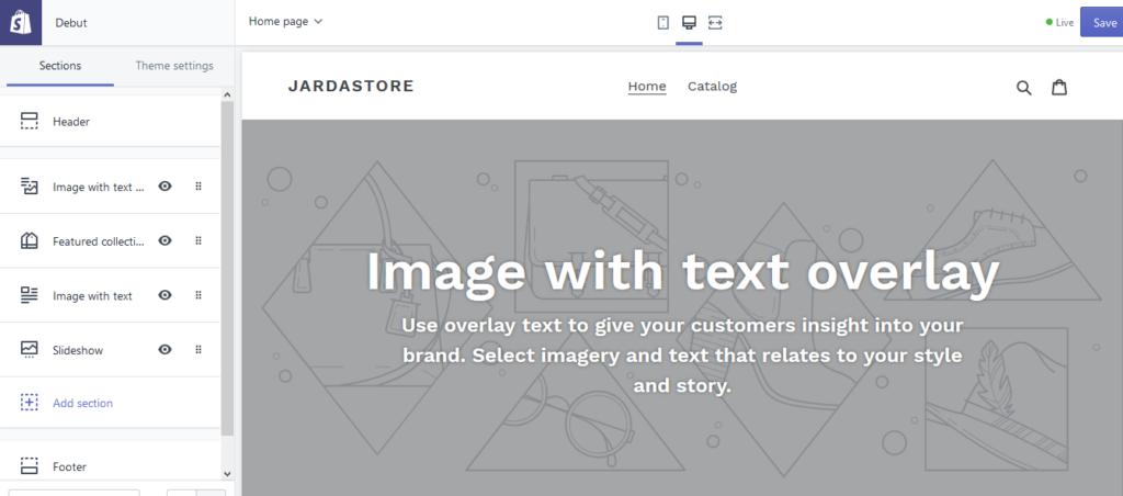 Shopify customization editor.