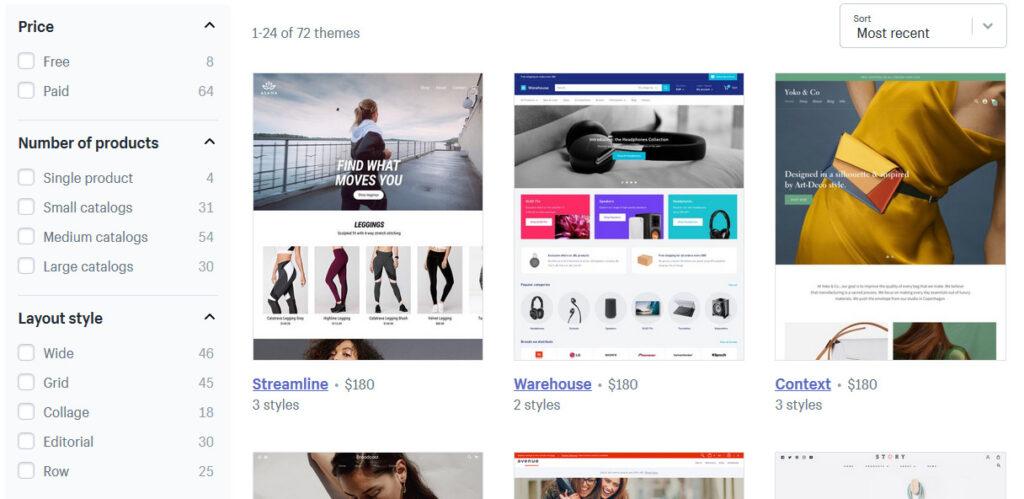 Catalog of Shopify design templates for e-shops.